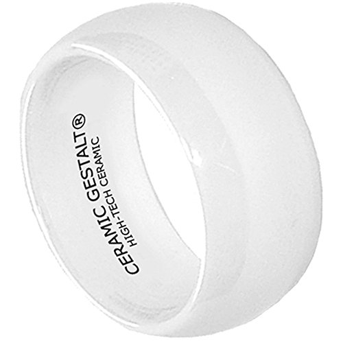 White Ceramic Ring by CERAMIC GESTALT® - 10mm Width. Domed & Polished Design . Size 6 - RW10DPD6
