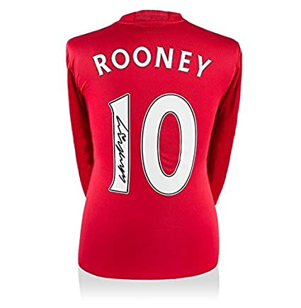 7e99e0fb641 Wayne Rooney Signed Long-Sleeved Manchester United Shirt 2016 2017 Number  10 - F - Autographed Soccer Jerseys at Amazon s Sports Collectibles Store