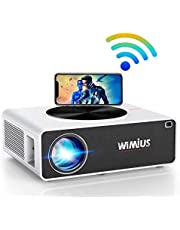 """5G WiFi Projector, WiMiUS K3 7500L 4K Supported Video Projector Native 1920x1080 LED Projector Support 500"""" Display Zoom Function Works with Bluetooth Transmitter Fire TV Stick PC DVD PS4 Smartphones"""