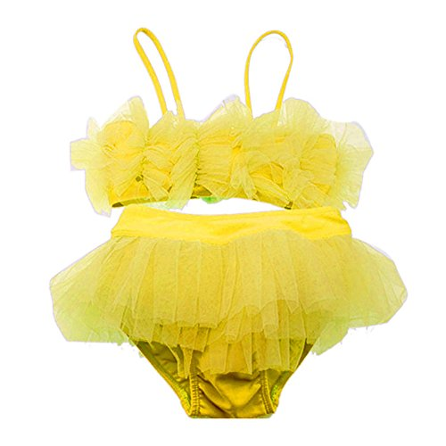 Weixinbuy Kids Girls Tulle Lace Bikini Set Tutu Dress Swimsuit Yellow 4T