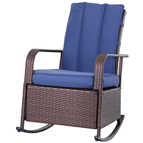 Outsunny Outdoor Wicker Rattan Recliner Rocking Cushioned Chair with Footrest & 135 Degrees of Comfort, Blue Cushions