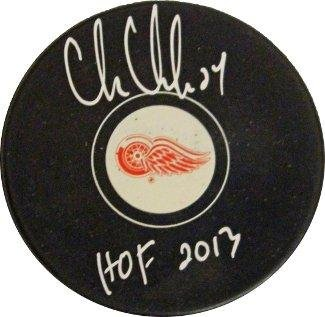 Autographed Chris Chelios Puck - HOF 2013 - Autographed NHL Pucks (Chris Chelios Hockey)
