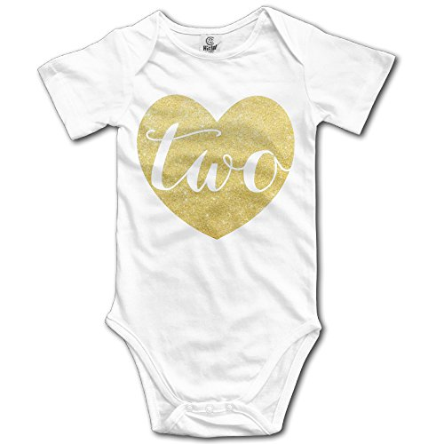 Price comparison product image onlyou 2Nd Birthday Baby Girl Glitter Heart Infant Girls Cute Baby Onesies Romper