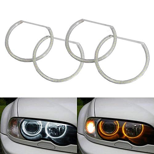 Euro Hid Xenon Headlight Lights - iJDMTOY Switchback Dual-Color White/Amber 336-SMD LED Angel Eyes Halo Rings Kit for BMW E36 E46 3 Series E39 5 Series E38 7 Series with Adaptive Xenon HID Headlight