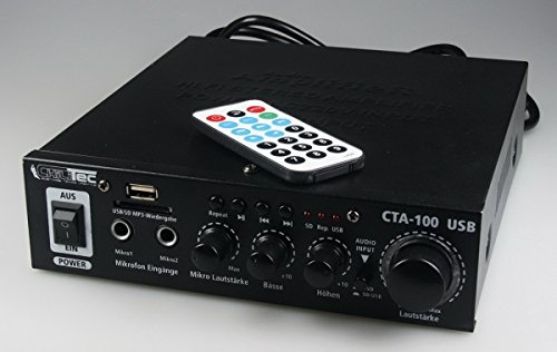 100 Watt HiFi-Verstärker Kompakt MP3 Cinch In Stereo SD-Slot Fernbedienung CTA-100 USB