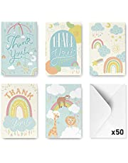 Rileys Baby Shower Thank You Cards Assortment, 50-Count | Hand-Illustrated 5 Designs, Envelopes Included, Bulk Variety Pack