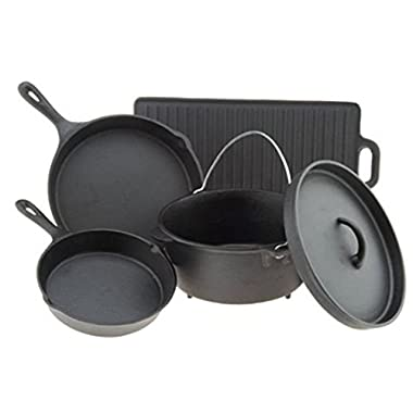 Outdoor Gourmet 5 Piece Cast Iron Cookware Set