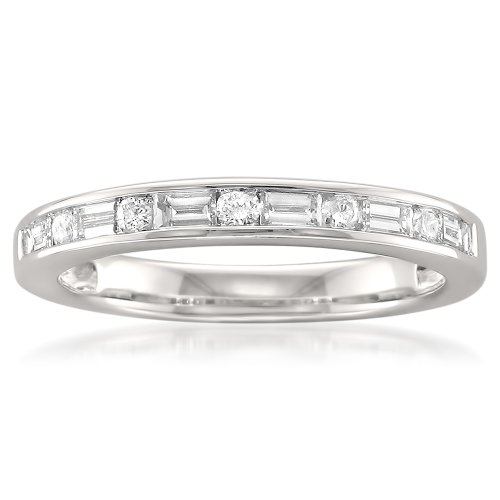 14k White Gold Baguette & Round Diamond Bridal Wedding Band Ring (1/2 cttw, H-I, SI1-SI2) (Diamond Band Baguette Round Ring)