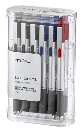 - TUL BP3 Retractable Ballpoint Pens, Medium Point, 1.0 mm, Silver Barrel, Assorted Ink Colors, Pack of 12 Pens