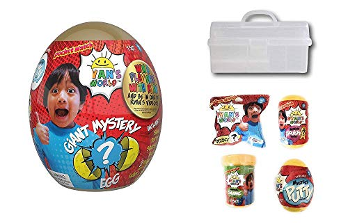Cool Kid Sets Ryan's World Golden Egg Ultimate Mystery Bundle with Bonus Storage Tackle Box - Includes Extra Mystery Slime, Putty, Squishy & Figurine -