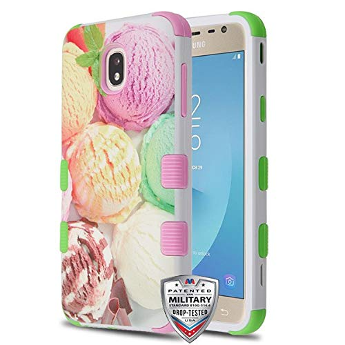 Case+Stylus, TUFF Hybrid Protector Cover [Military-Grade Certified] Fits Samsung Galaxy J7 Star/J7 V 2nd Gen/ J7 Refine/J737P Galaxy J7 2018 Ice Cream Yellow Green & Soft ()