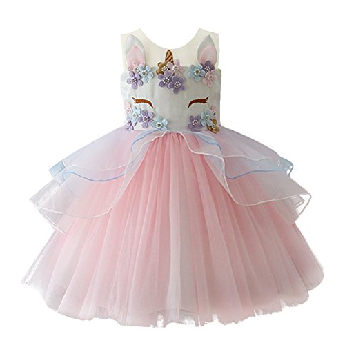 Baby Floral Unicorn Face Birthday Ballet Tutu Bodysuit Girls' Princess Costumes Pink 12-13 Years