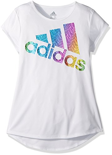 Short Sleeve Girls Tee (adidas Girls' Little Short Sleeve Graphic Tee Shirts, White Heather, 5)
