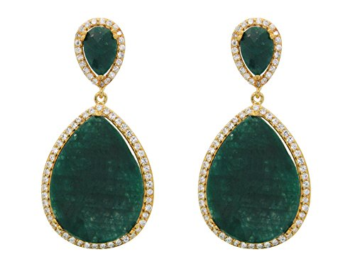 Fronay-Co-Gold-Plated-Sterling-Silver-Almond-Drop-Emerald-Corundum-Drop-Earrings