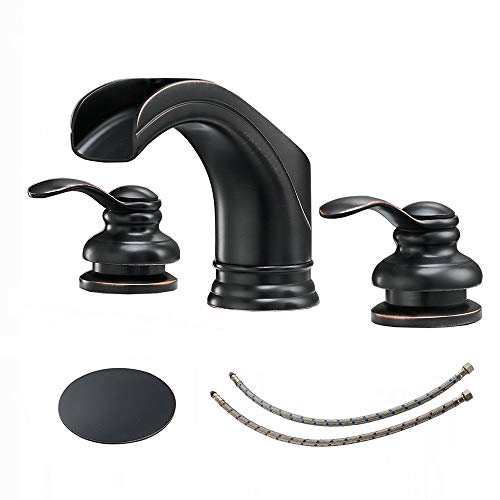 BWE Waterfall 8-16 Inch 3 Holes Two Handle Bathroom Sink Faucet Widespread Oil Rubbed Bronze ()