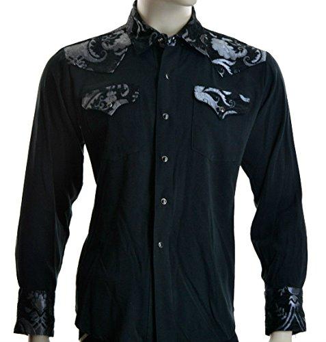 Shrine Rocker Steampunk Cowboy Rodeo Western Wild West Black Silver Tapestry Shirt (L) by Shrine