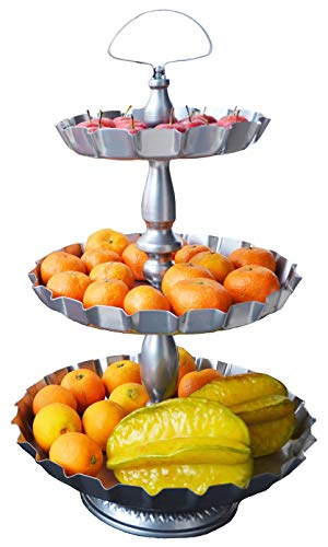 ShabbyDecor Metal 3 Tier Serving Tray Farmhouse Decorative Display Serving Stand for Hosting Party Wedding Birthday