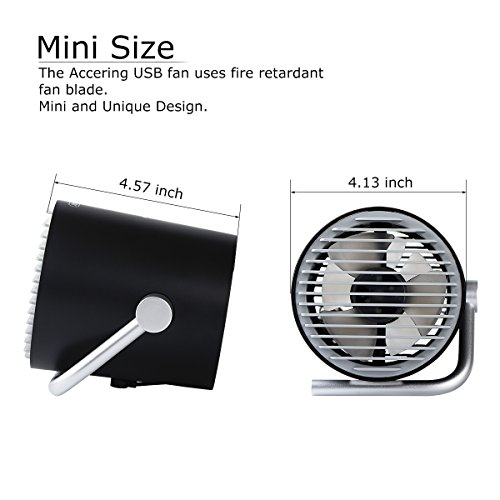 USB Desk Fan, Accering Portable Mini Desktop Small Fan with Touch Control, 5V USB Powered, Personal Table Fans Quiet Cooling for Home, Office, Dorm, Black (4 inch) by Accering (Image #5)