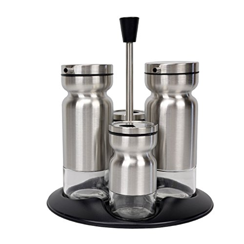 Open Sugar Tray Set (Evelyne GMT-10211-A Dining Cruet 4 pcs Set Stainless Steel Cover Bottle with Tray and Twist Open Top for Oil Vinegar Salt Pepper (Polish))