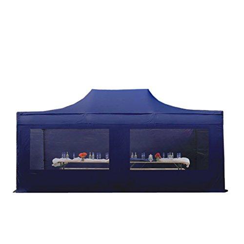 Faltpavillon Faltzelt Pavillon Klappzelt 4x6 m - ca. 400g/m² Plane + ca. 50mm Aluminiumgestänge - Zelt Partyzelt Gartenzelt Sonnenschutz Markstand Popup, mit 4 Seitenteilen (Panorama), dunkelblau