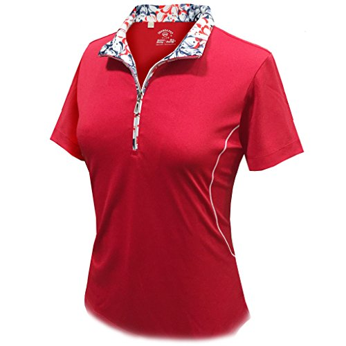 Monterey Club Ladies Dry Swing Daisy Stamp Contrast Shirt #2359 (Red/Navy, Large) (Stamp Club)