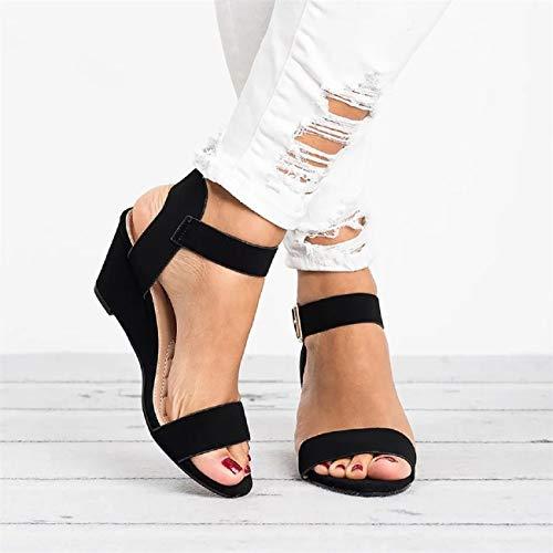 Summer Sandals for Women FAPIZI Ladies Roman Shoes Sandals Casual Ankle Strap Wedge Shoes Mules Mid Heel Sandals