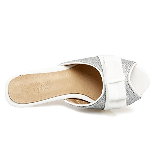 Slide Sandales Argent Haut Femme Peep Talon Toe RAZAMAZA Mode qpSxOBwSY