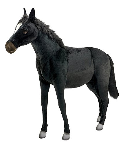 Hansa Ride-On Black Horse Stuffed Plush Animal, -