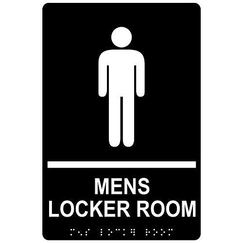 ADA Men's Locker Room Sign, 9 x 6 inch Tactile + Braille Black