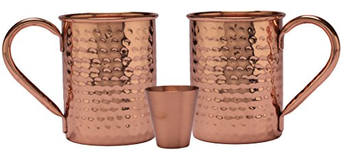 Melange 24 Oz Copper Classic Mug for Moscow Mules, Set of 2 with One Shot Glass - 100% Pure Hammered Copper - Heavy Gauge - No Lining - Includes Free Recipe Card
