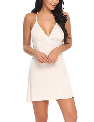 ADOME Sleepwear Women V Neck Chemise Nightgown Lace Lingerie Full Slip Dress (S, White 3) (Nightgown Chemise)