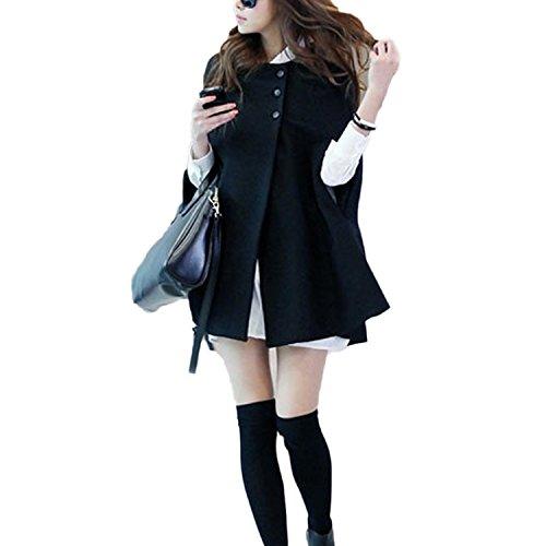 sans Poncho Taille Automne Grande Chaud QQI Femme Noir Hiver Manteau Chale Manches pw7tq541Zx