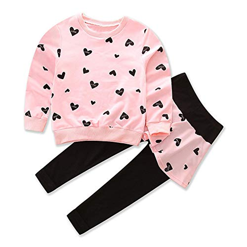 Little Girl Clothes Infant Outfits Set 2 Pieces Long Sleeved Tops and Pants (Pink, 6-7 T)