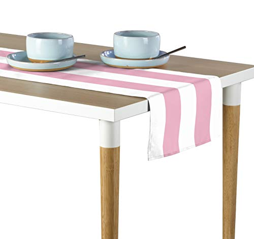 Milliken Pale Pink & White Cabana Stripe Signature Table Runner - Assorted Sizes (14