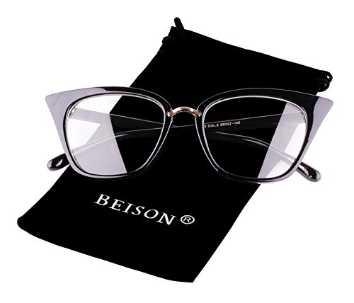 Beison Customize Prescription Glasses - Womens Cat Eye Mod Fashion Eyeglasses Frame Clear Lens (Black, Customized Prescription Lens)
