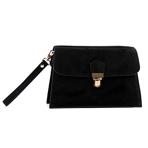 Aossta Suede Wedding Italian Clutch Genuine Bag Leather Bag Cross Black Body 1UBUr