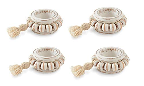 (KIG Online Shopping Mud Pie Home White Washed Beaded 4 Pc Cloth Napkin Ring Set )