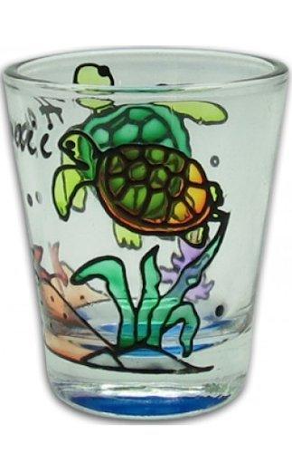 (Hawaiian Hand Painted Shot Glass Honu Turtle Swimming)