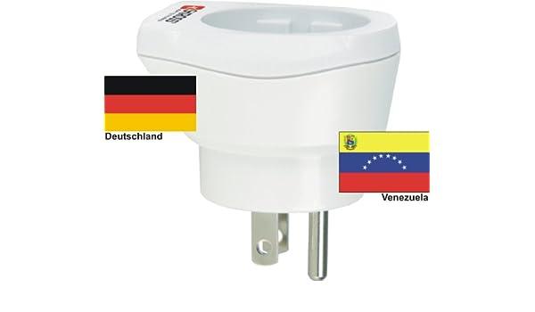 Alta calidad adaptador de viaje Diseño Alemania a Venezuela 220 - 230 V schuko macho Conversión macho - conector Enchufe de Viaje Alemania - Venezuela: ...