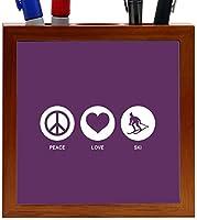 Rikki Knight Peace Love Ski Purple Color Design 5-Inch Tile Wooden Tile Pen Holder (RK-PH42516)