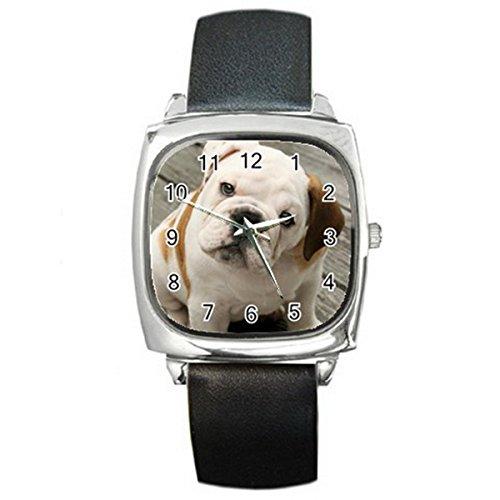 ENGLISH BULLDOG Silver Tone Square Metal Wrist Watches for men women HOT Gift NEW (Watch Sport Bulldogs)