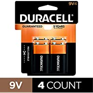 Duracell Coppertop 9V Batteries, Alkaline, 4 Count