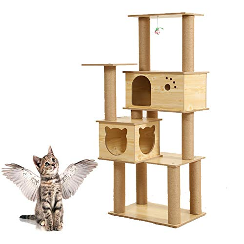 Árbol rascador para gatos Gato de tres capas que sube el marco, gato de madera de la plataforma de salto del gato Gato de la...