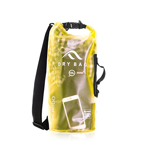 New Acrodo Waterproof Dry Bag Transparent 10 Liter Floating for Boating, Camping, and Kayaking With Shoulder Strap - Keeps Clothing & Electronics Protected
