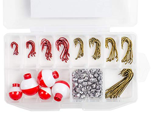 Sunrise Angler 165 Piece Fishing Tackle Kit + Tackle Box Octopus Hooks Baitholder Hooks Aberdeen Hooks Removable Split-Shot Sinkers Bobbers High Carbon Steel Hooks Terminal Tackle ()