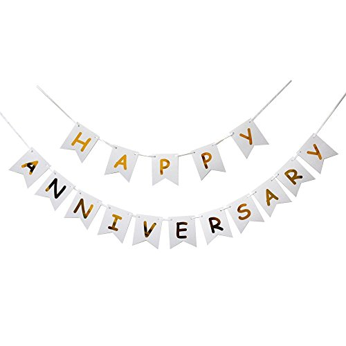 (Happy Anniversary Banner, Gold Foiled for Wedding Anniversary Party Decoration)
