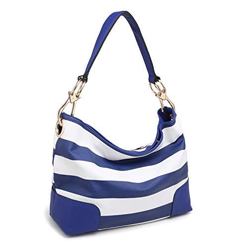 Dasein Women's Classic Faux Leather Hobo Purse Shoulder Bag Tote Handbag (7676- Blue/White)