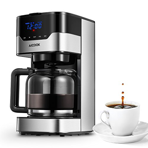 Aicook Coffee Maker, Thermal 12-Cup Programmable Coffee Machine, Drip Coffee Maker with Glass Coffee Pot, Black