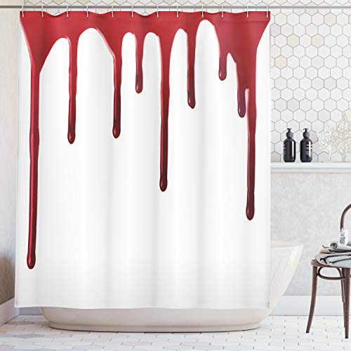 Ambesonne Horror Shower Curtain, Flowing Blood Horror Spooky Halloween Zombie Scary Help Me Phrase Themed Illustration, Cloth Fabric Bathroom Decor Set with Hooks, 75 Inches Long, Red White