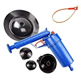 Air Power Drain Blaster gun - High Pressure Plunger Opener Cleaner Pump - Toilet Plunger with 3.1-inch Air Reservoir and 4 Different Plugs for Bathroom Shower kitchen Clogged Pipe Bathtub
